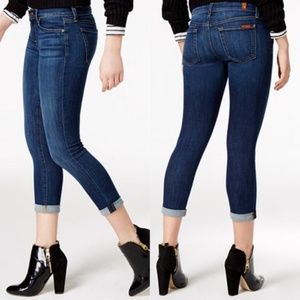 7 For All Mankind Skinny Crop and Roll Jeans, 28